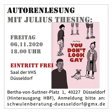 Lesung mit Julius Thesing - YOU DON'T LOOK GAY